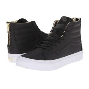 Vans Hi Sk8-hi Slim Black Leather Sneakers Gold 8